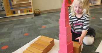 Observing changes in dimensions working with the  pink tower and brown stair.